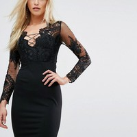Love Triangle Embroidered Mesh Top Mini Dress With Lace Up Back at asos.com