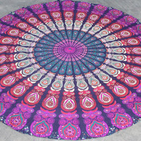 Indian Round Mandala Tapestry Throw Hippie Hippy Wall Hanging Table Cloth Throw Tapestries Decorative Picnic Beach Blanket throw Bedspread