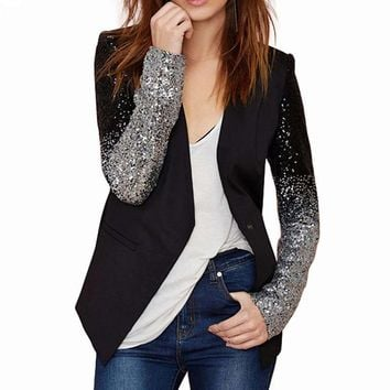 Vintage Sleeve Metallic Sequines Blazers women elegant office blazers jackets single button cardigans V neck
