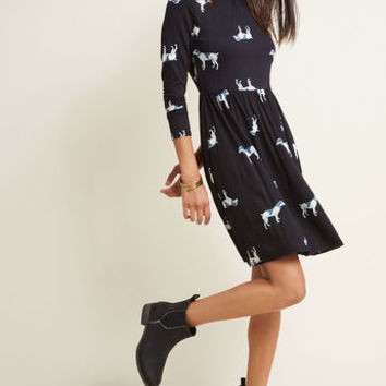 Jersey Long Sleeve Dress in Dogs