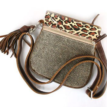 Teskey's Saddle Shop:  Consuela Small Crossbody Purse- Black Metallic Tweed