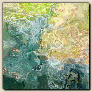 "Contemporary abstract art, 24x24 to 36x36 canvas print with gallery wrap, in blue, green and aqua, ""Sea Breeze"""