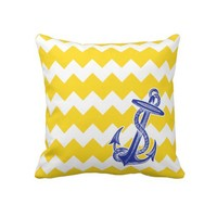 Yellow Chevron Blue Anchor Pillow from Zazzle.com