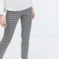 Geometric jacquard cigarette trousers