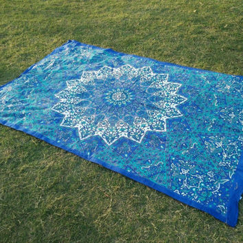 Twin blue star mandala tapestry Indian Hippie Mandala Tapestry Bohemian Wall Hanging Twin Bedspread Throw Decor