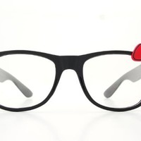 Womens Mod Cat Eye Clear Lens Horn Rimmed w/ Hello Kitty Bow (Red Bow)