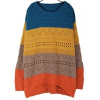 Blue Cute Loose Blue Round Neck Ladies Knitting Women Sweater @A157b