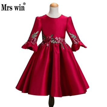 2018 New Flower Girl Dresses Mrs Win Elegant O-neck Full Sleeve Luxury Embroidery Ball Gown For Girls  Robe De Bal Enfant X