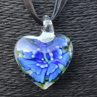 SALE: Flower-in-Heart Pendant Necklace! (Murano Glass) (Dark Blue)