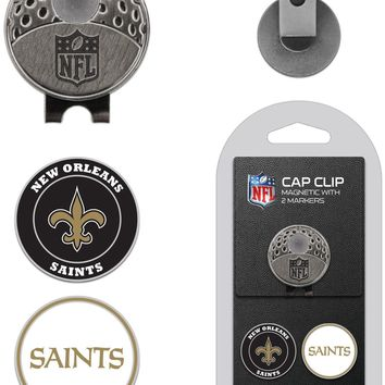 NFL New Orleans Saints Hat Clip & 2 Magnetic Golf Ball Markers