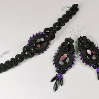 Soutache set Soutache earrings Soutache bracelet Soutache bilateral Blacksoutache Black jewelry