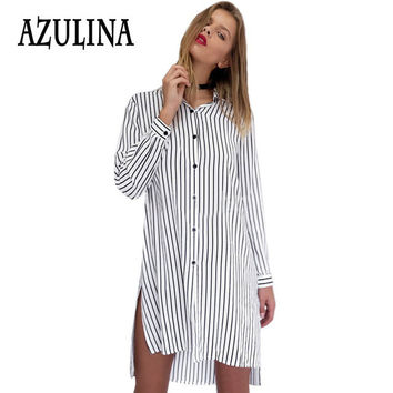AZULINA Striped Mini Shirt Dress Women Turn Down Long Sleeve Loose Side Split Straight Casual White 2017 Spring Summer Dress