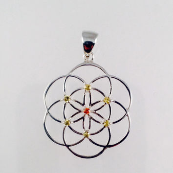 Sacred Geometry, Sterling Silver Seed of Life Pendant with Yellow and Orange Sapphires