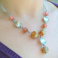 Lampwork Necklace, Soft Pastel Spring Touch, Artisan Handmade Lampwork Jewelry for Her