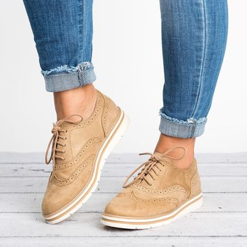 Lace Up Perforated Oxfords - Natural
