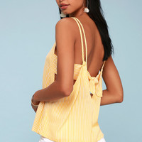 Adrift Mustard Yellow Striped Tank Top