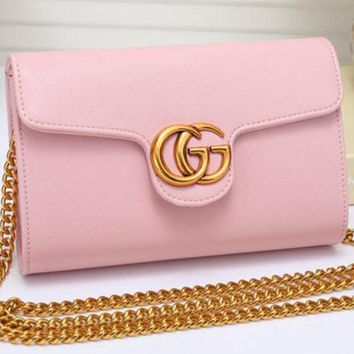 Gucci Women Leather Metal Chain Crossbody Shoulder Bag Satchel-1
