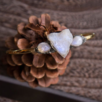 MOONSTONE HEART STONE Bangle - Raw Natural Crushed Gemstone Healing Gold Bracelet Boho Chic Gypsy Arm Candy Gifts for her Pyrite Encrusted