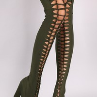 Bamboo Elastane Woven Peep Toe Chunky Heeled Over-The-Knee Boots