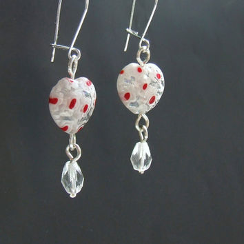 Tiny sweet heart earrings, girly red floral pattern heart glass bead jewelry, sisters mother daughter gift