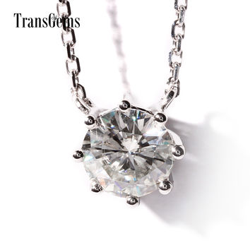 TransGems 1 Carat Lab Grown Moissanite Diamond 8 Prongs Solitaire Pendant Necklace Solid 18K White Gold for Women