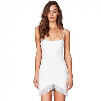 Tassel Bandage Dress - White