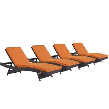 Convene Chaise Outdoor Patio Set of 4, Espresso Orange