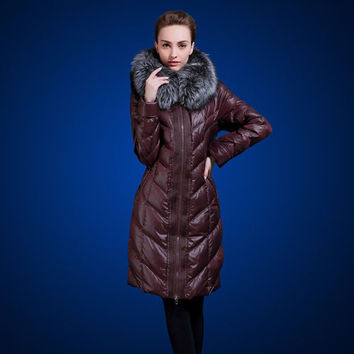 Medium-long thickening down coat plus size plus size fox fur slim over-the-knee women VLD-Q505A