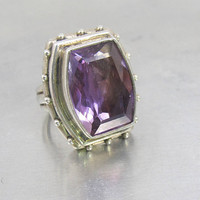 Stephen Dweck Ring, Large Sterling Silver Setting Faceted Amethyst Gemstone, 1990s Stephen Dweck Jewelry, February Birthstone, Size 8