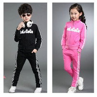 4 Colors autumn big boys girls sport clothes children tracksuits striped jacket and pants 2 pieces kids jogging suit for 3-12 years = 1931777988