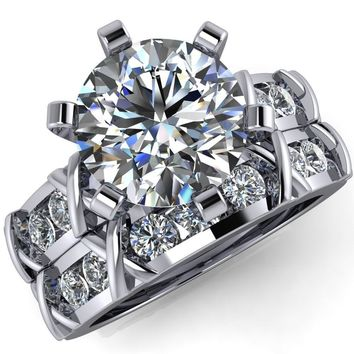 Levine Round Moissanite 6 Prong Diamond Channel Setting Engagement Ring
