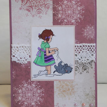 Kitten Card, Paper Handmade Greeting Card, Lace and Pearls, Pretty and Cute, Elegant, For Girls, Pink and Purple, Cat and Kitty