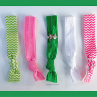 3 Delta Zeta HAIR TIES Pink and Green with by CrownedPeacock