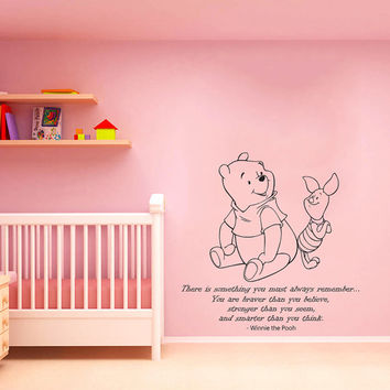 Wall Decals Quotes Vinyl Sticker Home Decor Mural Winnie the Pooh Wall Decal Quote you must always remember Wall Decals Nursery Art AN320