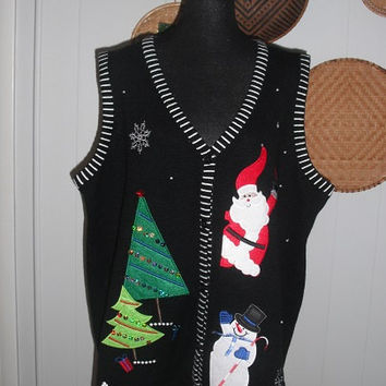 Ugly Christmas Sweater Vest For Christmas work Party Size 3XL Santa Trees Frosty