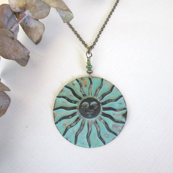 Sun Necklace Verdigris Patina by 636designs on Etsy