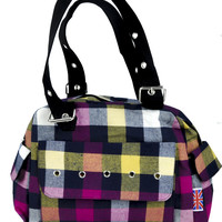 Pastel Color Stripe Plaid Hand Bag Punk Lolita Purse with Cell Phone Pocket
