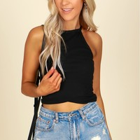 Racerback Crop Tank Black