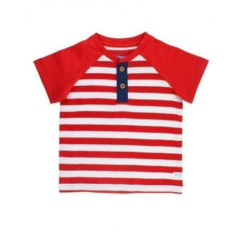 Rugged Butts Red Stripe Henley Tee
