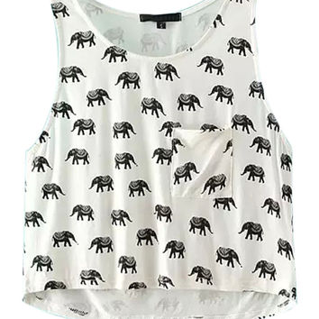 White Elephant Print Crop Top