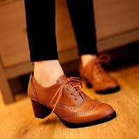 Women Lace Up Oxford Heels Shoes Boots = 1946603012