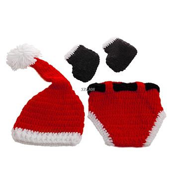 Christmas Baby Hats Hand-Knit Hat Knitted Beanie Baby Cap Handmade Winter