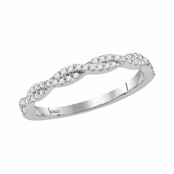 10kt White Gold Women's Round Diamond Woven Twist Stackable Band Ring 1/4 Cttw - FREE Shipping (US/CAN)