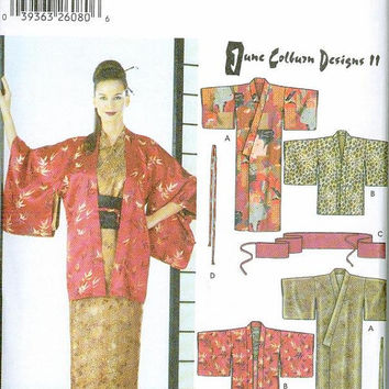 Simplicity 5839 Sewing Pattern Kimono Hadri Obi Sash Tie Traditional Japanese Robe Sizes XS to XL