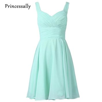 Robe De Soriee New Pastel Blue Bridesmaid Dresses Chifffon Knee Length Two Straps Sweetheart Homecoming Formal Prom Party Gown