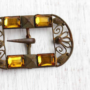 Antique Art Deco Brass Filigree Belt Buckle - 1920s Orange Yellow Glass Stone Fashion Accessory / Amber Glow