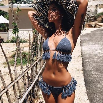 Beaded Tassel Crochet Bikini
