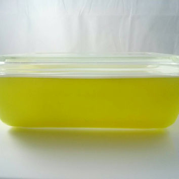 Vintage Pyrex 0503 Refrigerator Dish Yellow with Lid