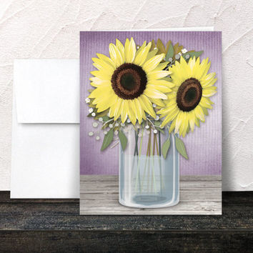 Rustic Sunflower Note Cards - Purple Mason Jar Floral Yellow Sunflower Country Cottage Chic Thank You Cards - Printed Cards