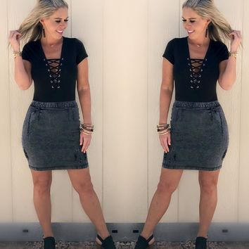 Staying in Stone Washed Denim Skirt